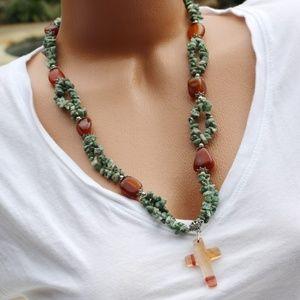 New! Boho Cross Necklace Polished Agate Nat Stone